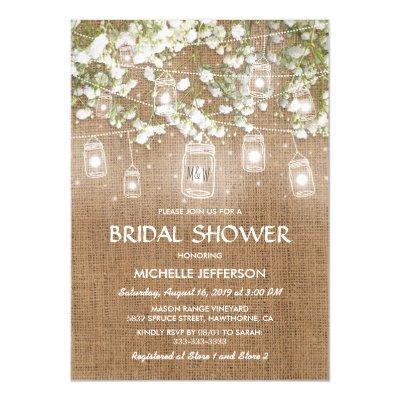Baby's Breath Rustic Burlap Wedding Bridal Shower Invitations