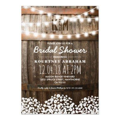 Baby's Breath Rustic Wood Bridal Shower Invitations
