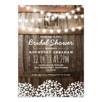 Baby's Breath Rustic Wood Bridal Shower Invitations