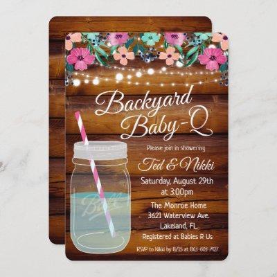 Backyard Baby Q Mason Jar Invitation