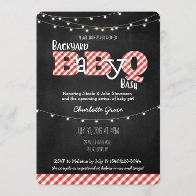 Backyard BaByQ Bash BBQ Baby Shower Invitation