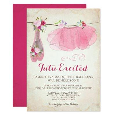 Ballerina Baby Shower Invitations Girl, Pink