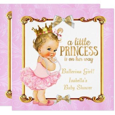 Ballerina Princess Baby Shower Pink Gold Blonde Invitations