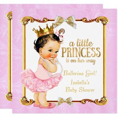Ballerina Princess Baby Shower Pink Gold Brunette Invitation