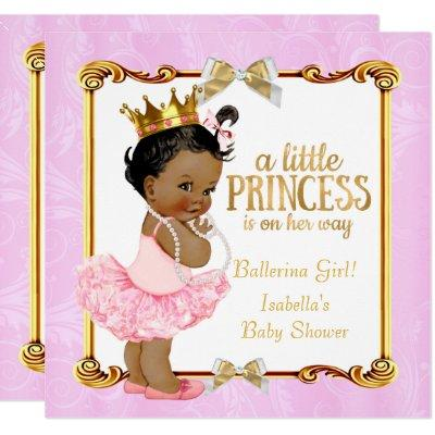 Ballerina Princess Baby Shower Pink Gold Ethnic Invitations