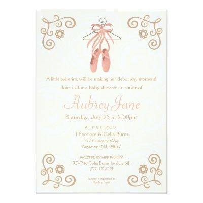 Ballerina Shoes Ballet Baby Girl Shower Invitations