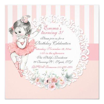 Ballerina Tutu Ballet Pink White Stripes Lace Invitations