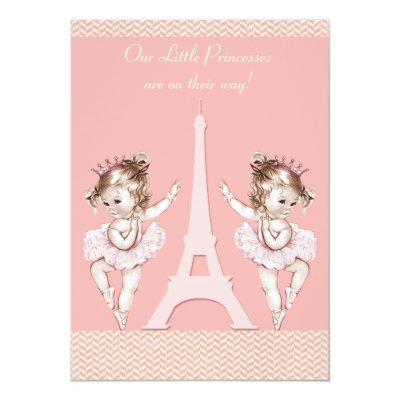 Ballerina Twins Eiffel Tower Chevrons Baby Shower Invitation