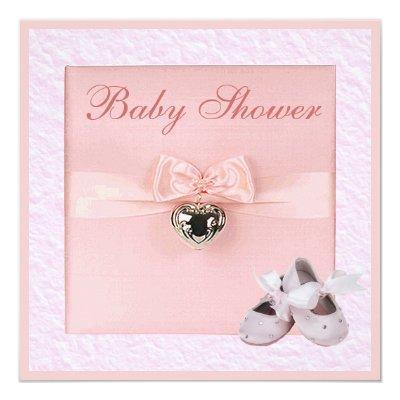Ballet Shoes & Locket Girls Pink Baby Shower Invitation