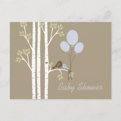 Balloons, Birds & Birch Trees Invitation Postcard