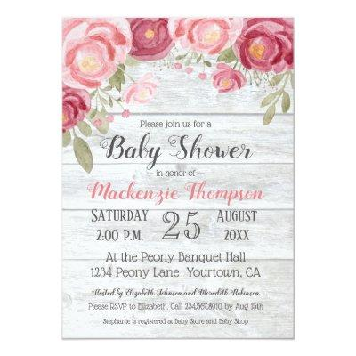 Barnwood with Watercolor Peonies Invitation