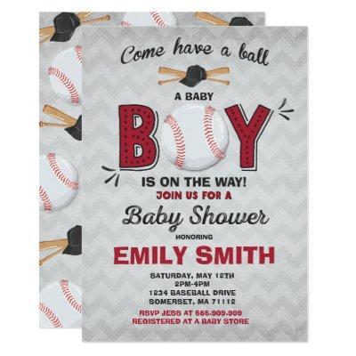 Baseball Baby Shower Invitations Sport Baby Shower
