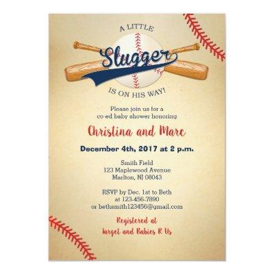 Baseball Baby Shower Invitations - Little Slugger