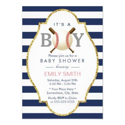 Baseball Boy Modern Navy Blue Stripes Baby Shower Invitations