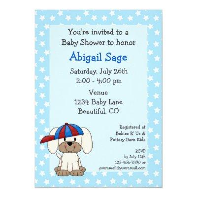 Baseball Puppy Baby Boy Shower Invitations