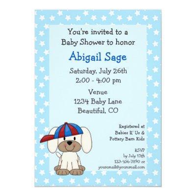 Baseball Puppy Baby Boy Shower Invitation