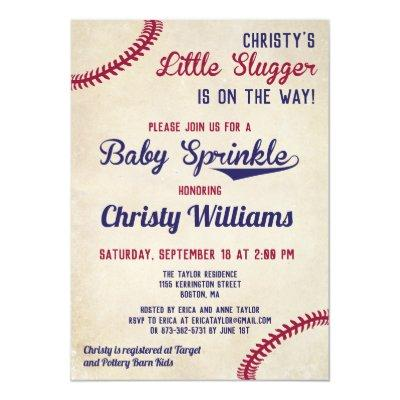 Baseball Themed Baby Sprinkle Invitations Cards