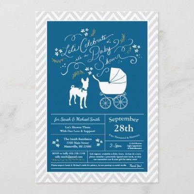 Basenji Dog Baby Shower Boy Blue Invitation