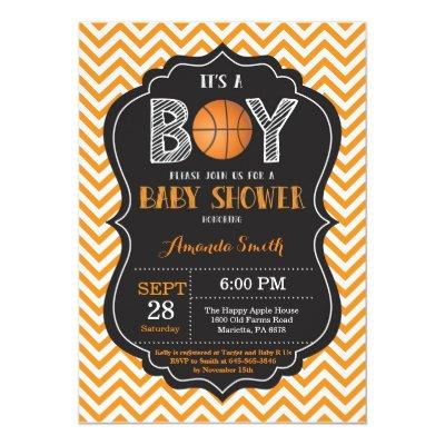 Basketball Baby Shower Invitations Orange Chevron