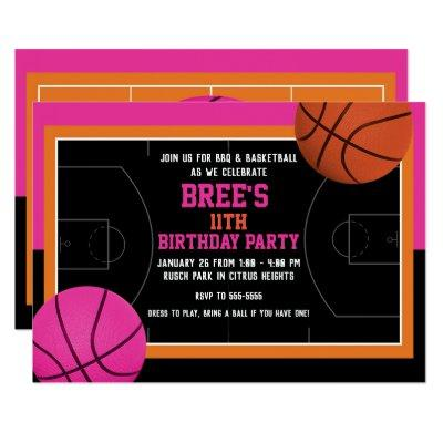 Basketball Birthday Party Black Pink & Orange Invitation