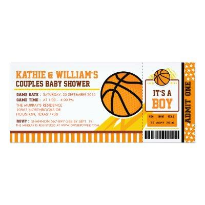 Basketball Couples Baby Shower Invitations