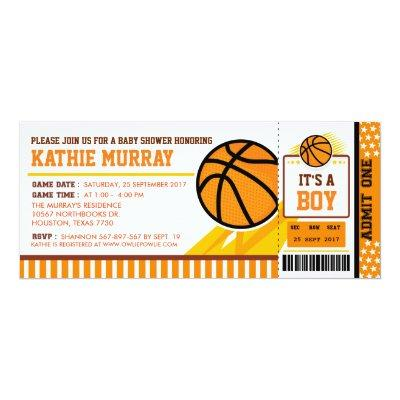Basketball Ticket Pass Baby Shower Invitations