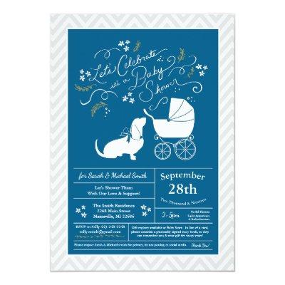 Basset Hound Dog Baby Shower Boy Blue Invitation