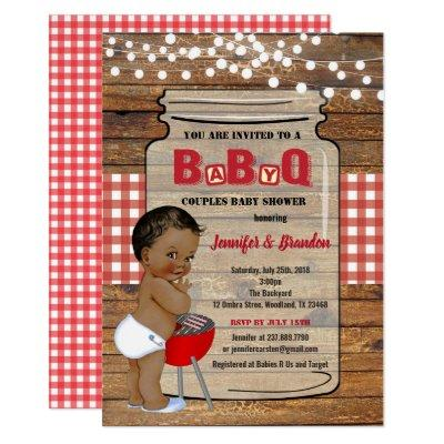 BBQ baby boy shower BaByQ invitation