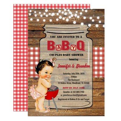 BBQ baby girl shower BaByQ invitation
