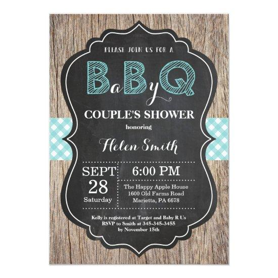BBQ Baby Shower Invitation Baby Q Backyard Aqua