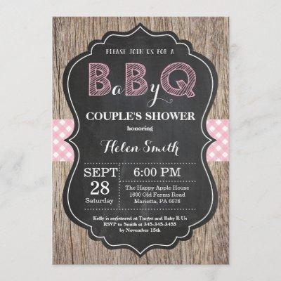 BBQ Baby Shower Invitation Baby Q Backyard Pink