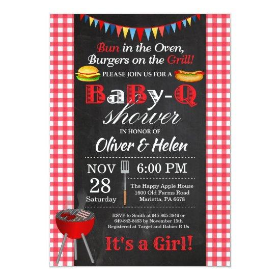 BBQ Baby Shower Invitations BabyQ Barbecue
