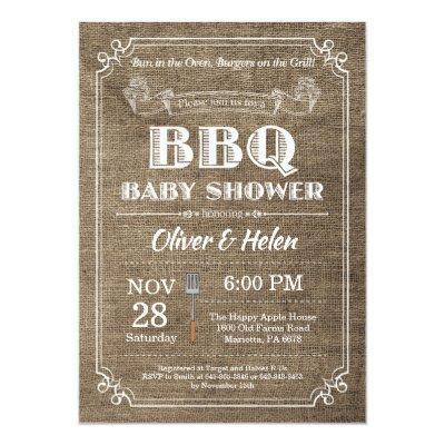 BBQ Baby Shower Invitation Burlap Vintage