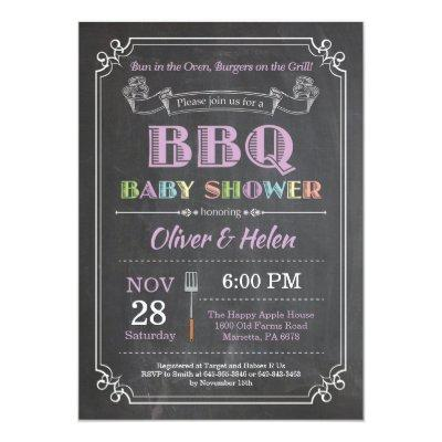 BBQ Baby Shower Invitation Chalkboard Purple