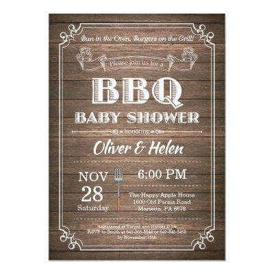 BBQ Baby Shower Invitation Rustic Wood