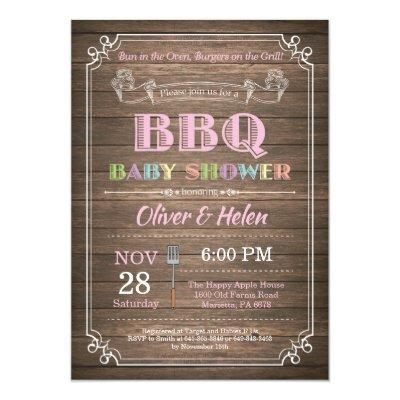 BBQ Baby Shower Invitations Rustic Wood Pink