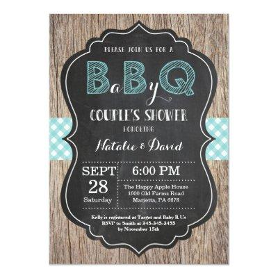 BBQ Couples Shower Invitation Baby Q Backyard Bash