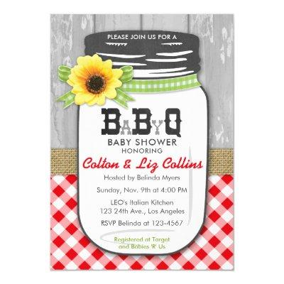 BBQ Mason Jar  Red & Green