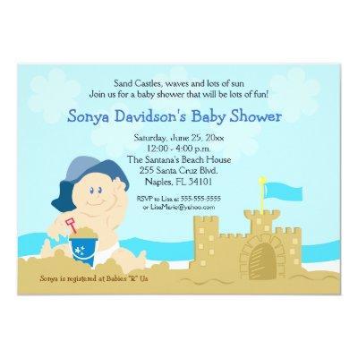 beach baby sand castle boy invitations