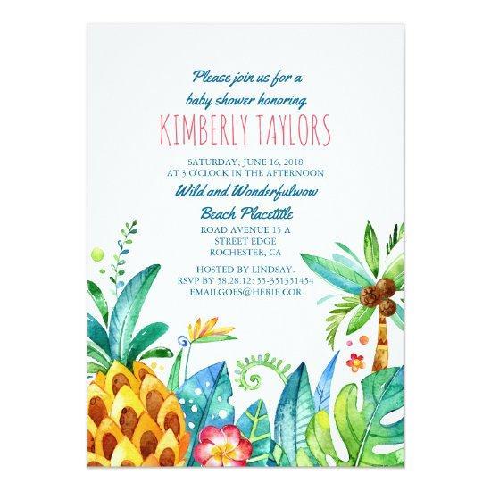 Beach baby shower tropical pineapple palms invitations baby shower beach baby shower tropical pineapple palms invitations filmwisefo