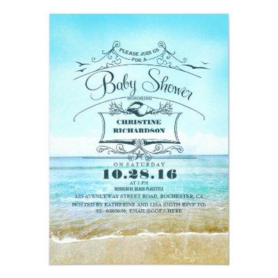 beach blue ombre baby shower Invitations