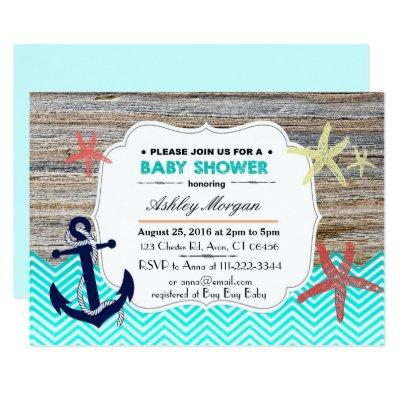 Beach Nautical Baby Shower Invitation