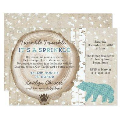 Bear and Plaid Wilderness Baby Boy Sprinkle Invitation