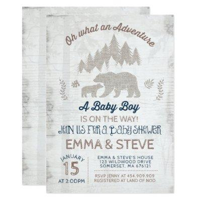 Bear Baby Shower Invitation Boy Adventure Shower