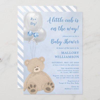 Bear Cub Boy Baby Shower Invitation