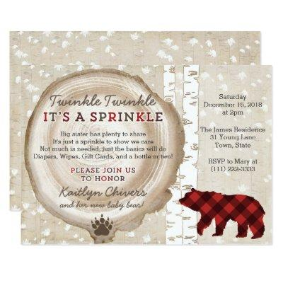 Bear Cub Winter Forest Baby Sprinkle for Boy Invitation