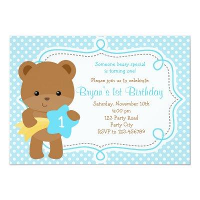 Teddy bear birthday invitation baby shower invitations baby shower bear invitations 1st birthday baby shower boy filmwisefo