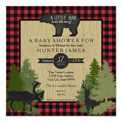 Bear Woodland Forest Lumberjack Plaid Baby Shower Invitations