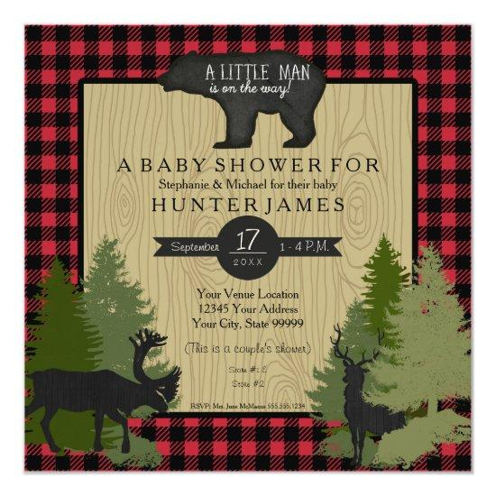 Bear Woodland Forest Lumberjack Plaid Baby Shower Card