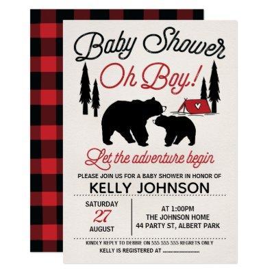 Bears Lumberjack Baby Shower Invitations